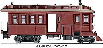 Vintage red motor railcars - Hand drawing of a vintage dark...