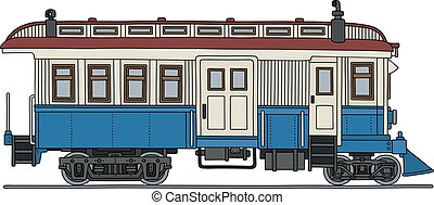 Vintage motor railcars - Hand drawing of a retro blue and...