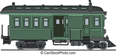 Vintage small motor train - Hand drawing of a classic green...