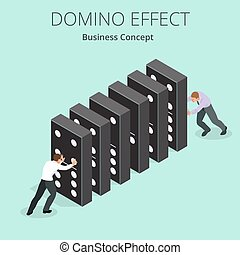 Isometric Man Start domino effect a and Chain reaction...