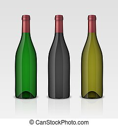 Set of 3 realistic vector wine bottles without labels isolated on white background. Design template