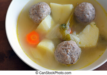 Passover Jewish holiday Food - Matzah balls soup - Matzah...