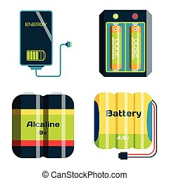 Battery energy tool electricity charge fuel positive supply...