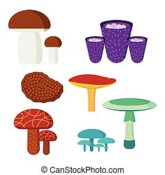 Mushrooms for cook food and poisonous nature meal vegetarian...