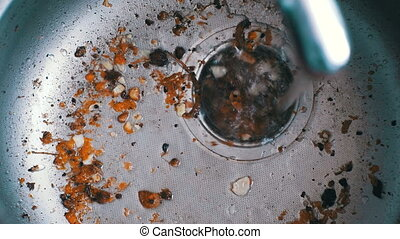 Kitchen Drain Clogging up with Food Particles. Dirty Clogged...