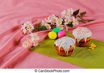Meat quail egg for Easter, colorful Easter food composition...