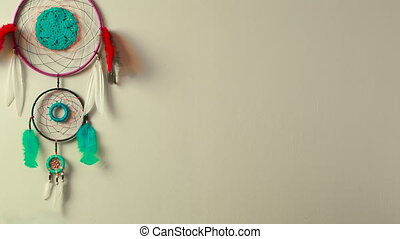 Dreamcatcher on the wall - Dream Catcher shamanic amulet on...