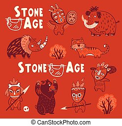 Funny vector set of prehistoric animals and people in masks