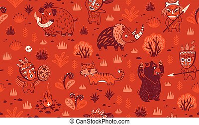 Stone Age vector pattern in red colors - Seamless patterns...