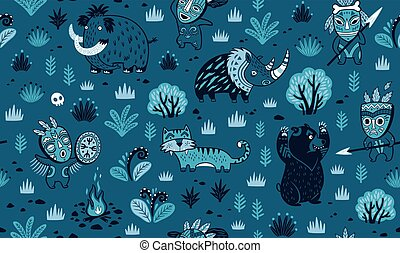 Stone Age vector pattern in blue colors - Seamless patterns...