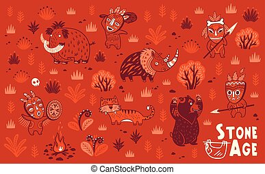Stone Age vector set - Set of cartoon prehistoric animals...