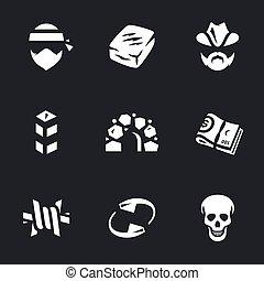 Vector Set of Drug cartel Icons. - Criminal, drug, ranger,...