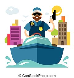 Vector Coast guard. Flat style colorful Cartoon...