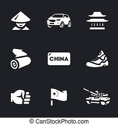 Vector Set of China Icons. - Chinese, auto, temple, textile,...