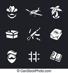 Vector Set of Drug lord Icons. - Drug lord, plane, palm...