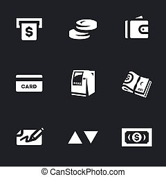 Vector Set of ATM Cash Icons. - Money, coins, purse, bank...