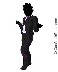African American Girl Mariachi Silhouette Illustration -...