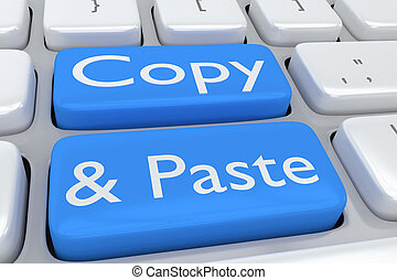 Copy and Paste concept - 3D illustration of computer...