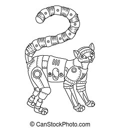Steam punk lemur coloring book vector - Steam punk style...