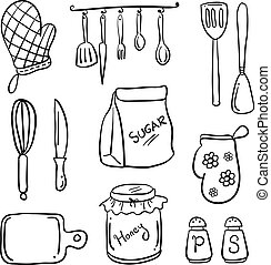 cartoon kitchen in doodle style