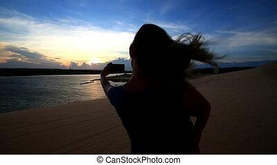 Closeup Silhouette Mother Holds Small Girl Photos Lake at...