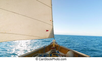 Look at the Front of the Sail Boat on the Sea - Boat riding...