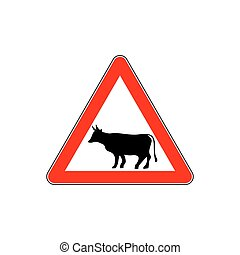 Cow Warning sign red. Farm Hazard attention symbol