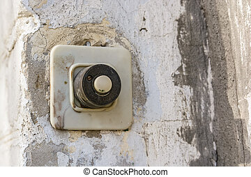 Vintage plastic door bell close up - Old plastic door bell...