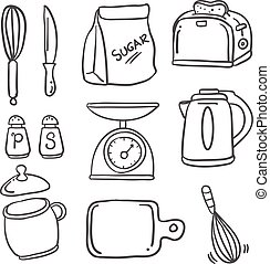 Hand draw kitchen set doodles