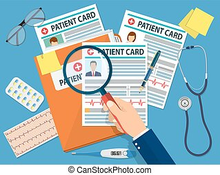 Folder with patient card and doctors hand with magnifying...