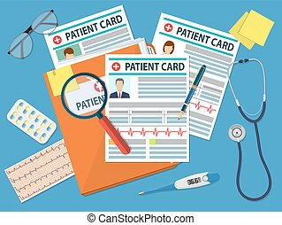 Folder with patient card and magnifying glass. medical...