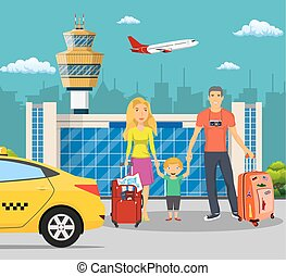 Young family with children in front of the airport
