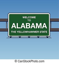 Vector - Welcome to Alabama the Beautiful Interstate Highway overpass sign in a blue sky