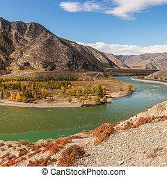 montagna, fiume, paesaggio