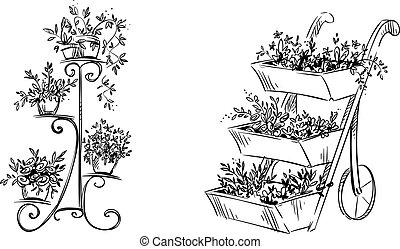 Flower stands. Vector illustration - Flower stands, hand...