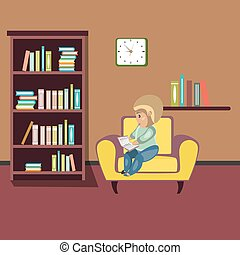 Woman reading book on chair at home.