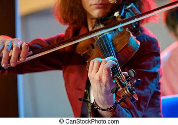 violino, mulher, jovem, tocando