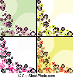 Four flowery retro backgrounds - Four 1960s/1970s retro...
