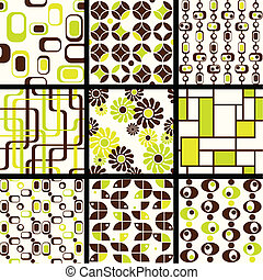 Collection of mod seamless patterns - Nine 1960s mod...