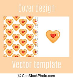 Cover design with cookies hearts pattern - Cover design for...