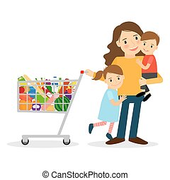 Woman with kids and shoping cart - Happy woman with two kids...