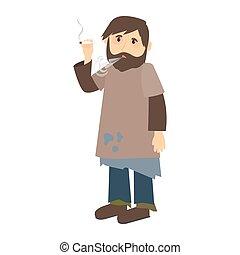Homeless man smokes cigarette icon on white background....