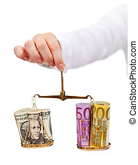 Currency exchange rates and currency wars concept with...