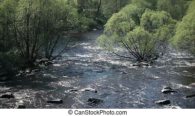 White water Roll on fast river Aerial view, Spring...