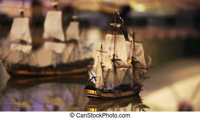 Two sailing ships on collision course - Two sailing warship...