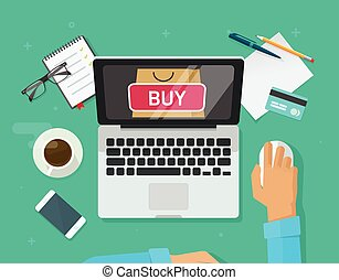 Online shopping concept vector, flat style laptop computer...