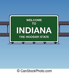 Vector - Welcome to INDIANA The Hoosier State Interstate Highway overpass sign in a blue sky