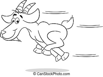 running cartoon goat - vector illustration of a running...