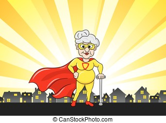 senior super heroine with cape - vector illustration of a...