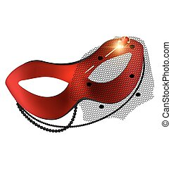 carnival red half-mask and golden pin - white background,...